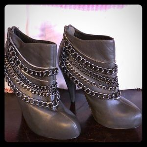 BEBE sage green leather ankle boots
